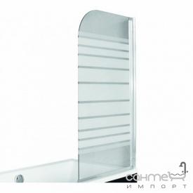 Шторка для ванны Besco PMD Piramida Ambition-1 75х130 профиль хром стекло с полосками