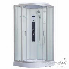 Полукруглый гидромассажный бокс Dusel DSC-DU511-90S профиль сатин, прозрачное стекло, задние стенки белые