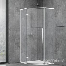 Пентагональна душова кабіна Dusel DL197H Chrome 100х100х190 профіль хром / скло прозоре