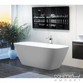 Отдельностоящая ванна из литого камня Balteco Dune 174 белая внутри/White Aluminium RAL 9006