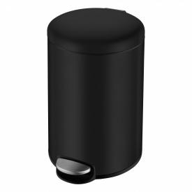 Ведро мусорное округлое 12л с педалью черное VOLLE 14-12-53B