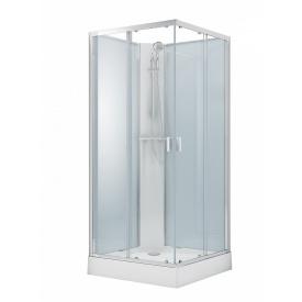 SOLAR душевой бокс квадратный без крыши 90x90x205см в комплекте с мелким поддоном профиль хром стекло прозрачное 6мм VOLLE 11-88-172