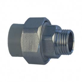 З'єднувач з американкою PP-R 40 мм x 1 1/4' Н сірий