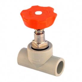 Вентиль PP-R 32 мм сірий