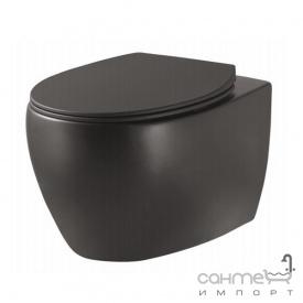 Подвесной безободковый унитаз с сидением slim softclose Devit Acqua 3020155B матовый черный