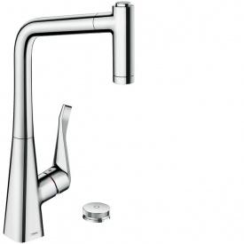 Select Смеситель для кухни M7120 H320 однорычажный на 2 отверстия с вытяжным душем поворотным изливом HANSGROHE 73806000