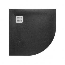 TERRAN поддон 90x90x2,8см из искусств камня Stonex полукруглый с трапом и сифоном в комплекте цвет черный Roca AP10538438401400