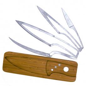 Набор кухонных ножей на деревянной подставке 2Life 4 в 1 Стальной (n-455)