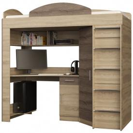 Кровать чердак со шкафом и рабочим местом Эверест сонома трюфель
