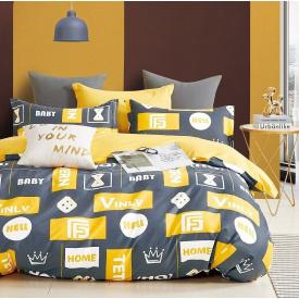 Постельное белье Viluta Сатин Твил 540 Двуспальный 175x210 Серый с желтым