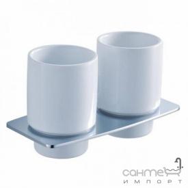 Пара керамических стаканов с настенным держателем Kraus Fortis KEA-13316BN сатин