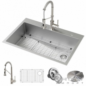 Кухонная мойка со смесителем Kraus Loften KCH-1000 838х559 нержавеющая сталь