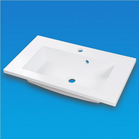 Умывальник врезной из литого мрамора Fancy Marble Josefina Slim 700 Белый глянцевый