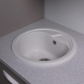 Кухонная мойка из гранита круглая Fancy Marble Nevada Белая