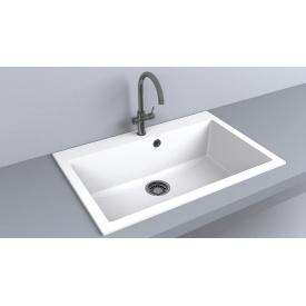 Кухонная мойка из гранита прямоугольная Fancy Marble Jersey 760 Белая