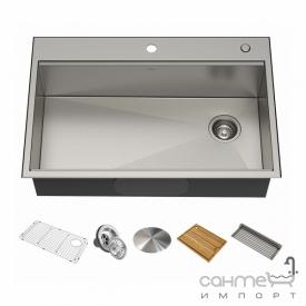 Кухонная мойка c аксессуарами Kraus Kore KWT310-33 нержавеющая сталь