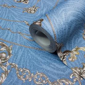 Шпалери вініл на флізеліновій основі LS Ленкорань Декор синьо-коричневий ДХС-1416/5 1,06х10,05 м