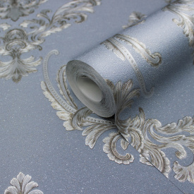 Вінілові шпалери для спальні гарячого тиснення LS Мерсін Декор PVIP 6-0871 сіро-синій 1,06х10,05 м