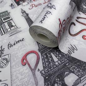Шпалери супермойка вінілові на паперовій основі LS Авеню Декор сіро-червоний МНК4-0670 0,53х10.05 м