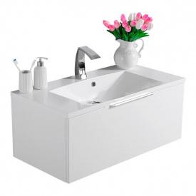Тумба для ванной комнаты Fancy Marble Bermuda 1 с умывальником Amelia 90 Белая