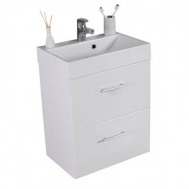 Тумба для ванной комнаты Fancy Marble Crete 55 ШН-22М с раковиной UM-550 Белая