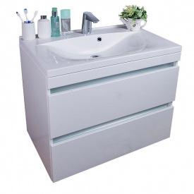 Тумба для ванной комнаты Fancy Marble Borneo 800 с раковиной Yonna 800 Белая