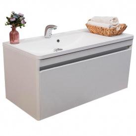 Тумба для ванной комнаты Fancy Marble Aspen с умывальником Sacramento Белая