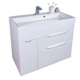 Тумба для ванной комнаты Fancy Marble Bermuda 2 с умывальником Ashley 90 Белая