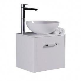 Тумба для ванной комнаты Fancy Marble Fiji 60 со столешницей и умывальником Mona 420 Белая