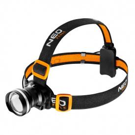 Налобный фонарик NEO Tools 400 люменов, зум, CREE R5, 3xAAA 99-200