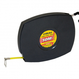 Рулетка стальная лента Sigma 50м*10мм (черная) (3816501)