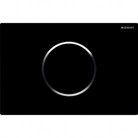 Смывная клавиша бесконтактная Geberit Sigma10 электронное управление цвет черный и хром глянцевый 115.907.KM.1