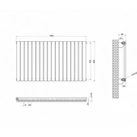 Горизонтальный дизайнерский радиатор отопления Terni G 18/600 Цвет чёрный матовый