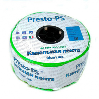 Крапельна стрічка Presto-PS щілинна Blue Line отвори через 30 см, витрата води 2,7 л/год, довжина 1000 м (BL-30-1000)