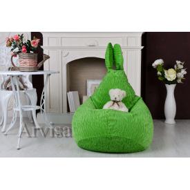 Детское кресло груша 90х60 заяц с ушами зеленый