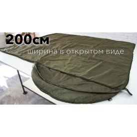 Спальник с капюшоном нейлон 220х200 см хаки мокрый камуфляж + компрессионный спальный мешок