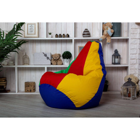 Бескаркасное кресло мешок груша пуфик XL 120х75 разноцветное