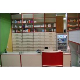 Стелаж з ящиками для аптеки Прем'єр Меблі червоний