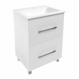 NEMO комплект мебели 60 см тумба напольная 2 ящика белая + умывальник накладной