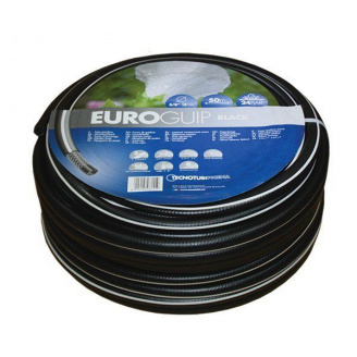 Шланг садовий Tecnotubi Euro Guip Black для поливу діаметр 1 дюйм, довжина 50 м (EGB 1 50)