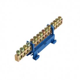ElectroHouse Шина нулевая 15 отверстий на DIN рейку 100A IP20