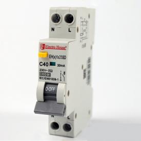 ElectroHouse ДИФ Автомат 25А 1P+N(1 модуль) 30mA 6kA 230-240V IP20