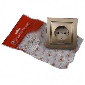 ElectroHouse Розетка с заземлением Роскошно золотой Enzo 16A IP22