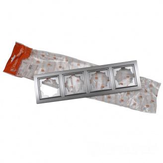ElectroHouse Рамка четырехместная серебро Enzo