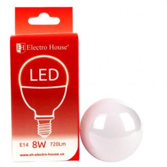 Світлодіодна лампа ElectroHouse куля E14 8W P45 4100K 720Lm