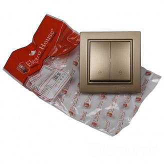 ElectroHouse Выключатель проходной двойной Роскошно золотой Enzo IP22