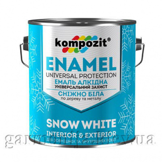 Эмаль алкидная снежно-белая Kompozit 0,9 кг Глянцевая