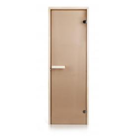 Стеклянная дверь для бани и сауны GREUS Classic прозрачная бронза 70/200 липа