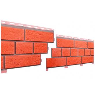 Цокольный сайдинг под кирпич Славянка прокрашенный красный 1,84 м