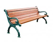 Деревянная скамейка ИГ Декор 1800х560х770 мм садово-парковая с металлическими ножками с подлокотниками